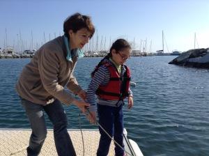 Sandra et sa maman sur le ponton flottant